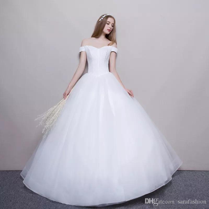 숄더 볼 가운 웨딩 드레스 2019 얇은 명주 그물 층 길이 신부 가운 Vestido de Novia