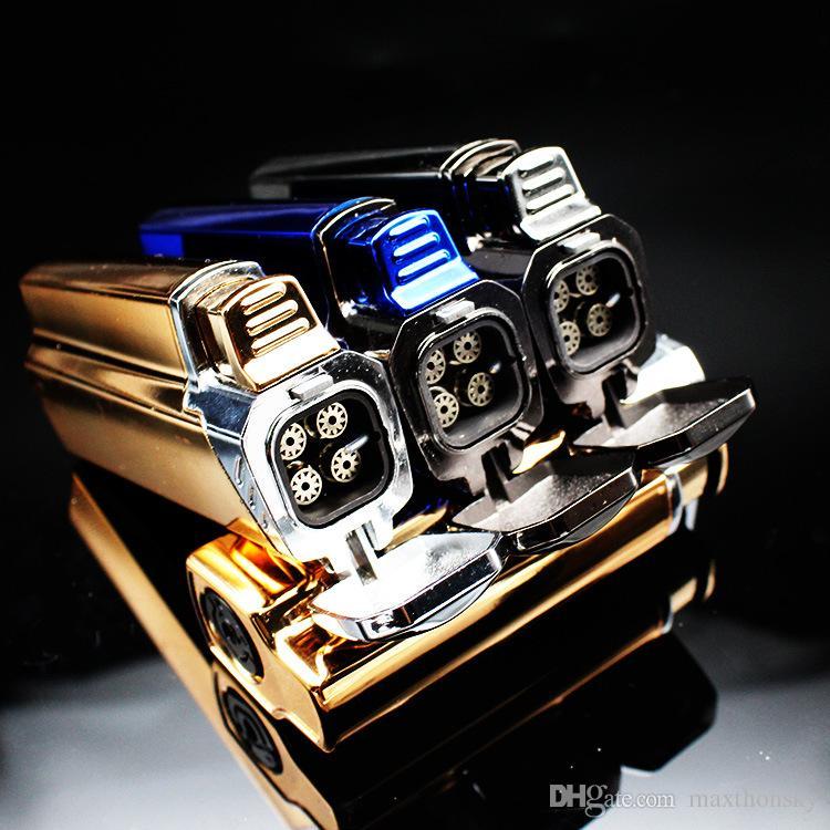 Четырехместный тройной металл многоразового ветрозащитный сигаретный фонарик зажигалка креативный дизайн тяжелое чувство мода для барбекю кухня зажим на открытом воздухе
