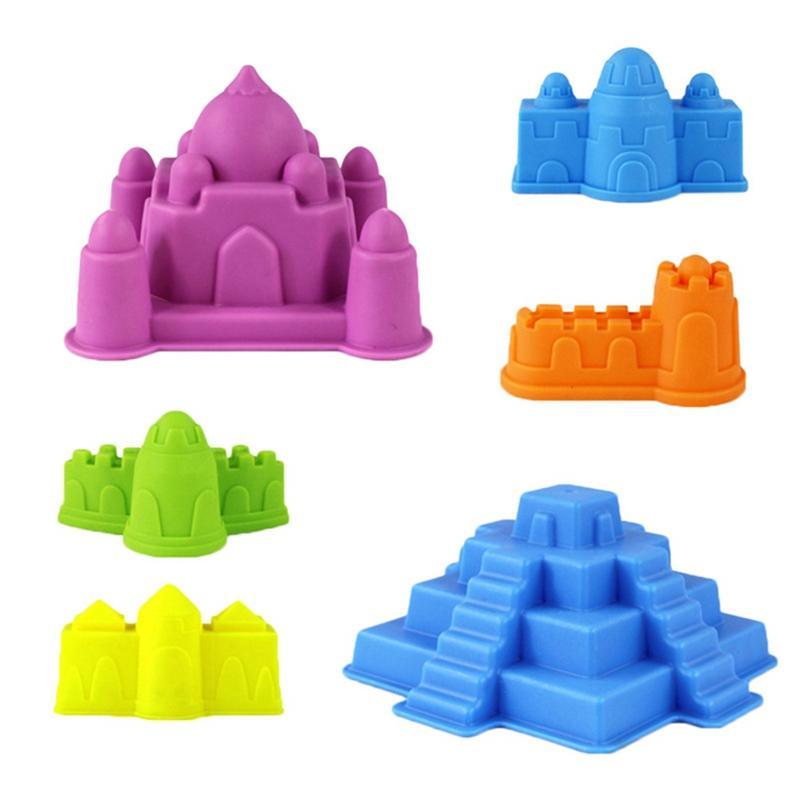 6 шт / Set Play Sand Открытый игрушки для детей Лето Море Пляж Детские игрушки Строительство Sand Castle Дети модели Инструменты Наборы