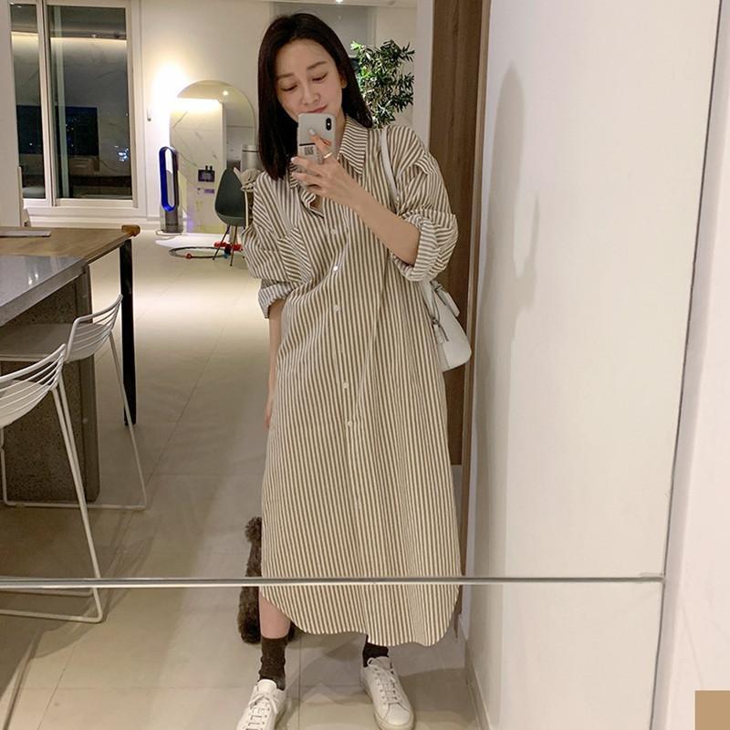 estilos de Corea manera de la camisa de cuello de apertura de cama 2020 nuevo verano mangas con rayas V732 del vestido longitud de pechos