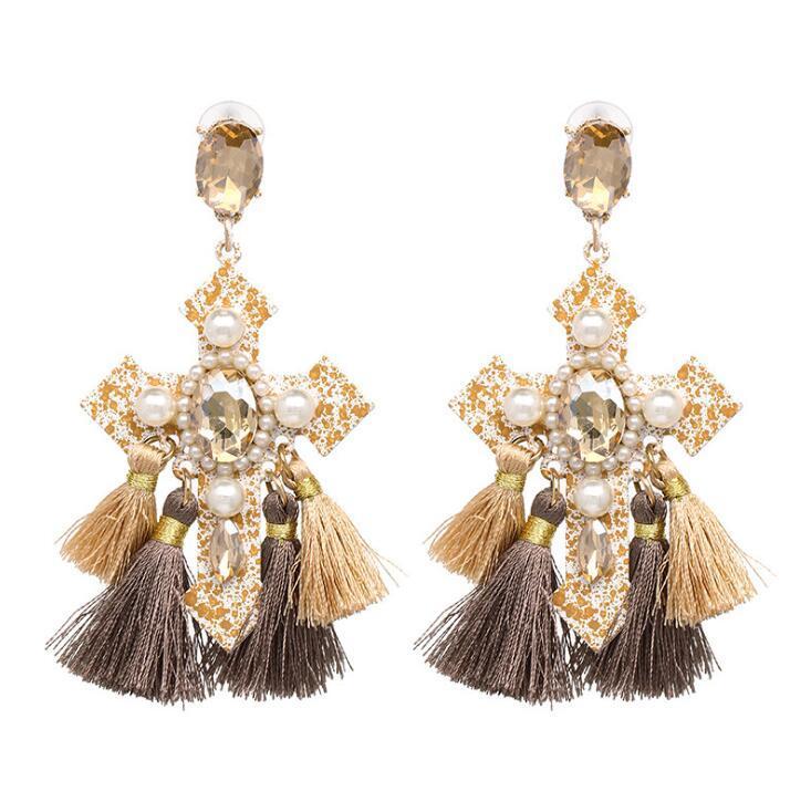 Retro Cross Gem Tassel Stud Earring Bohemia Personality Carnival Fringe Earrings Jewelry For Women National Style Hyperbole Dangler Gifts