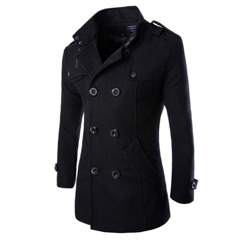 Zacoo Automne Hiver hommes Bouton à double boutonnage col à revers long style décontracté vêtement Manteau MX191118