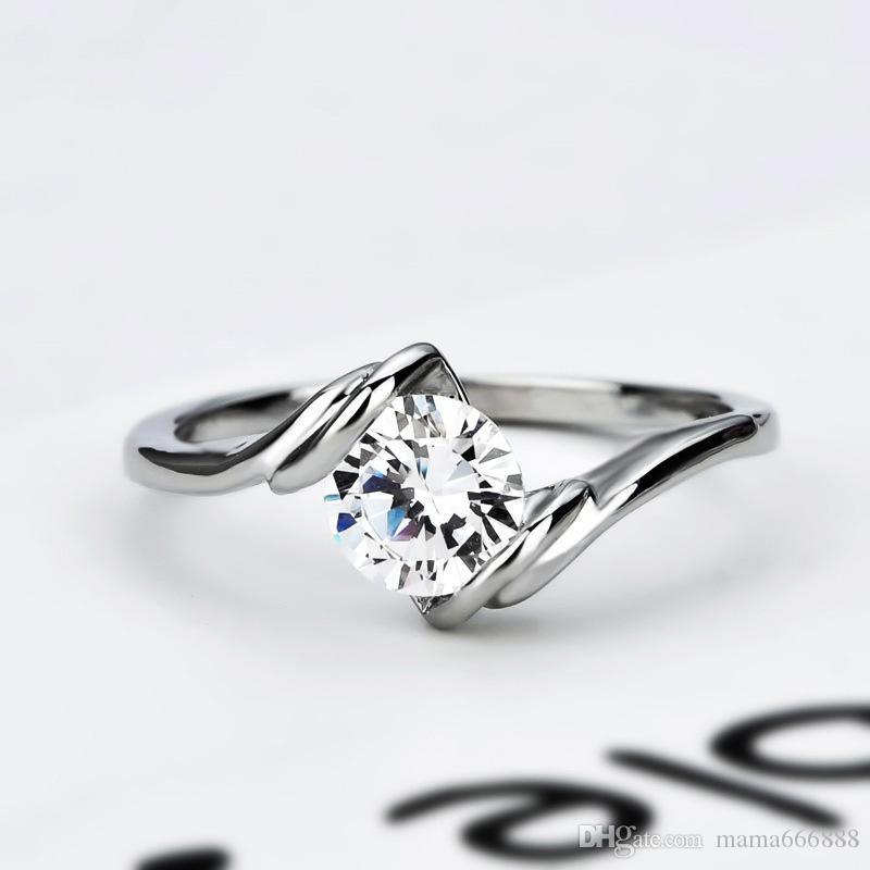 Fashion Women 925 Silver Zircon Mosaic Proposal Jewelry Wedding Engagement Rings