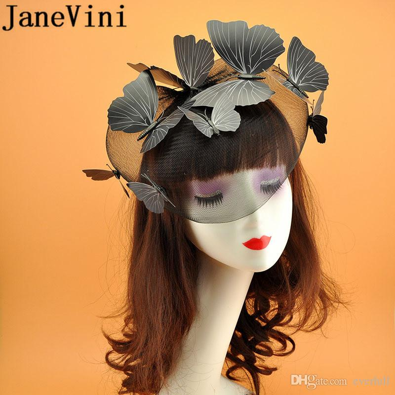 JaneVini Butterfly Decoration Bridal Hairband Face Veil Wedding Fascinators and Hats Black White Red Beige Bride Hat Hairwear 2019
