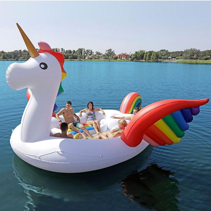 2020 New 6-8 person Huge Flamingo Pool Float Giant Inflatable Unicorn Swimming Pool Island For Pool Party Floating Boat