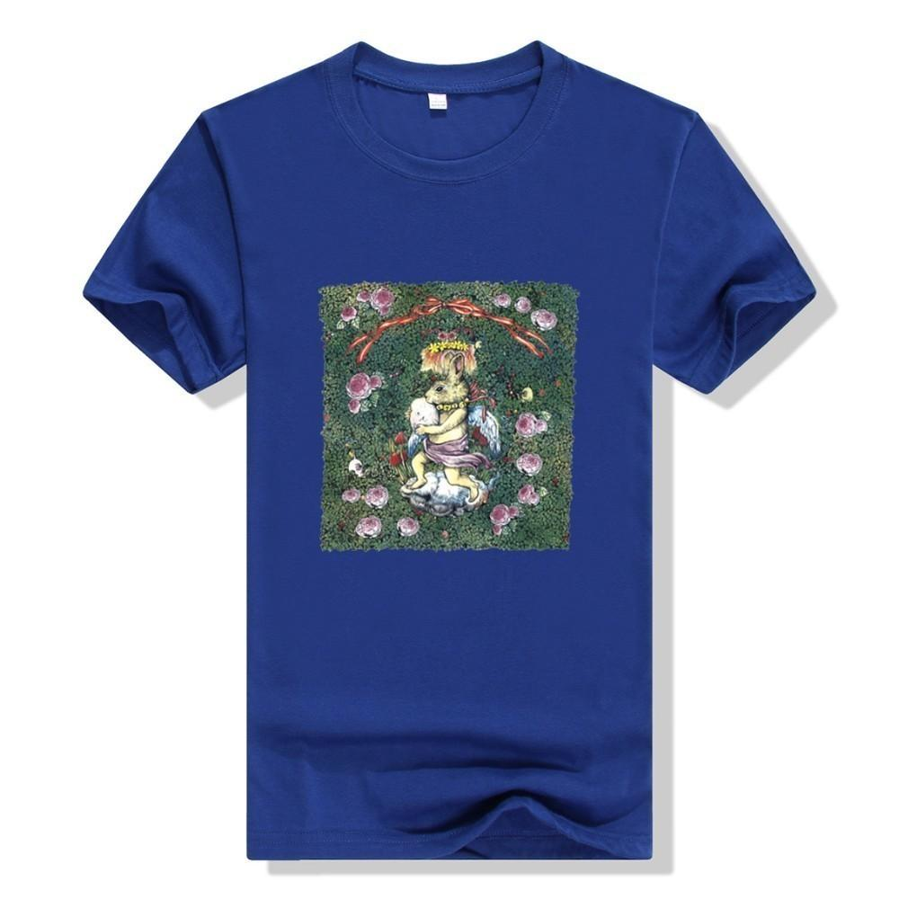 2019 new fashion men and women with the same T-shirt handsome fashion with imported fabrics angel bunny print
