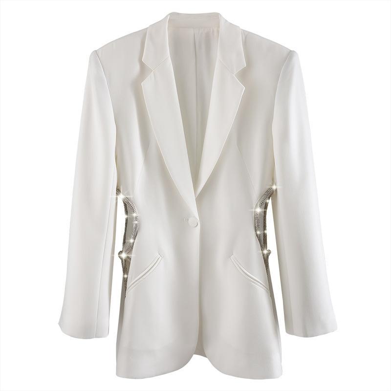NOUVEAU Blazer blanc femmes strass chaîne Cutout côté taille large épaule un seul bouton Casual Fashion Party Blazer Femme 2020