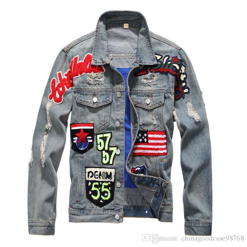 아메리칸 플래그 배지 패치 슬림 데님 재킷 고민 된 코트 찢어진 빈티지 글자 패치 워크 겉옷