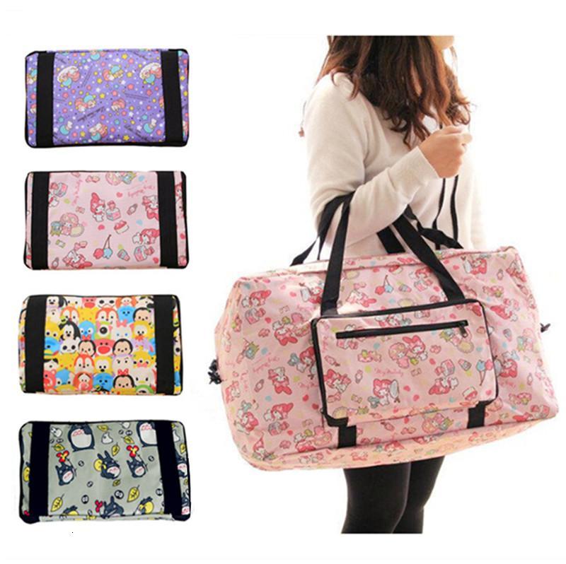 Kawaii Cute Cartoon Piccoli Twin Stars My Melody piegante pieghevole del carrello borsa da viaggio delle ragazze delle donne Tote Duffle borse a mano Deposito CJ191210