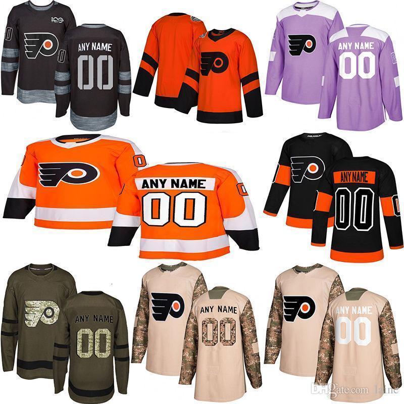 2019 Notícias Philadelphia Flyers Hockey Jerseys Vários estilos dos homens feitos sob encomenda algum nome faz Número Hockey Jerseys