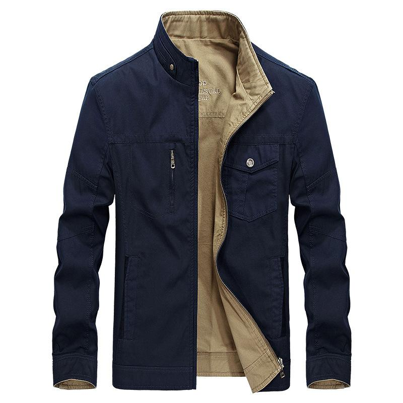Mens Jacket Fashion Cotton Wear On Both Sides Male Standing Collar Jacket Casual Plus Size L-5XL