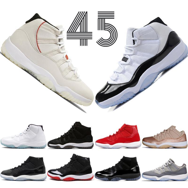 Concord haut 45 11s Platinum Tint chapeau et robe de basket-ball Hommes Chaussures de sport rouge Bred Barons Espace sport Confitures 11 hommes Sneakers formatrices