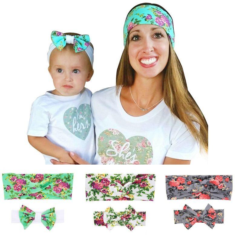 Sweet Mom Baby DIY Flower Print Bow Headbands Elastic Bowknots Headband Kids Headwear Beautiful HuiLin DWH29