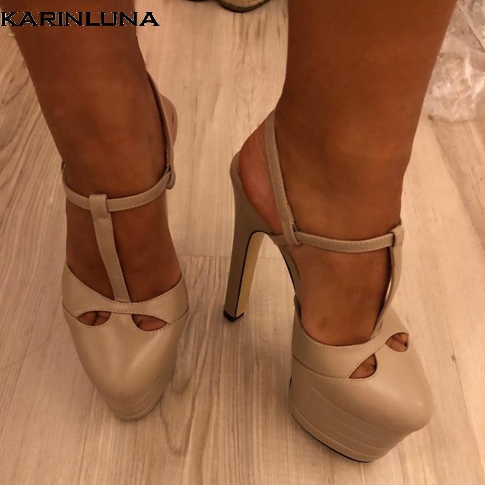 Karinluna 2019 grande tamanho 42 no interior de couro de carneiro sapatos de mulher Salto Alto Plataforma festa de casamento das noivas Sandals Mulheres BOMBAS S20326