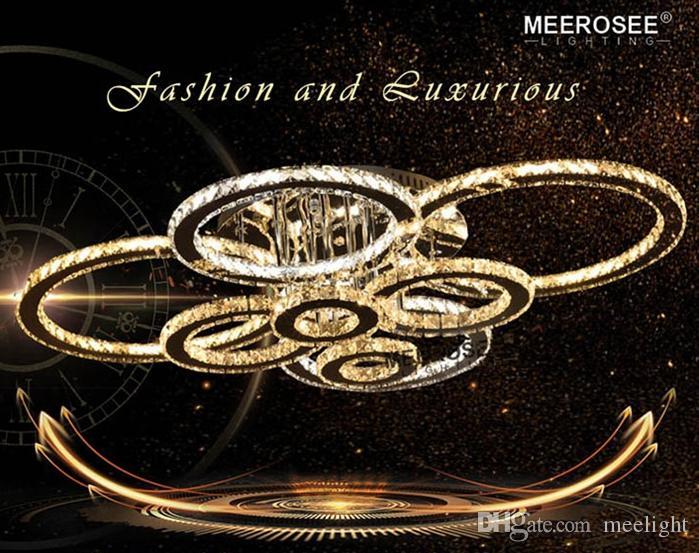 Moderne Led cristal Lustre Chrome Led Lumières plafond Dimmale avec télécommande Led anneau Chambre Décoration Éclairage intérieur