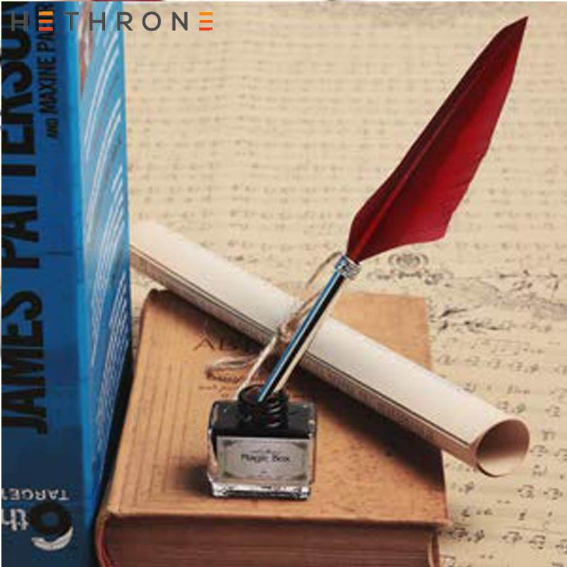 Vintage Feather Quill Dip Fountain Pen Smooth Writing Supplies Stationery Gift J