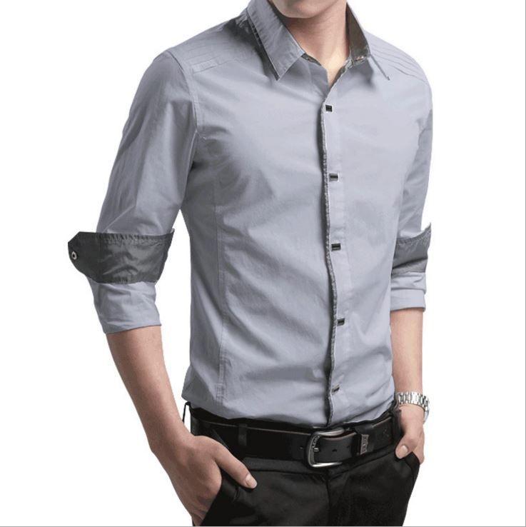 Compre 2019 Nuevas Camisas De Alta Calidad Cómoda M Camisa De Color Negro Rojo Vestido De Los Hombres De Negocios De La Moda Camisas De Manga Larga