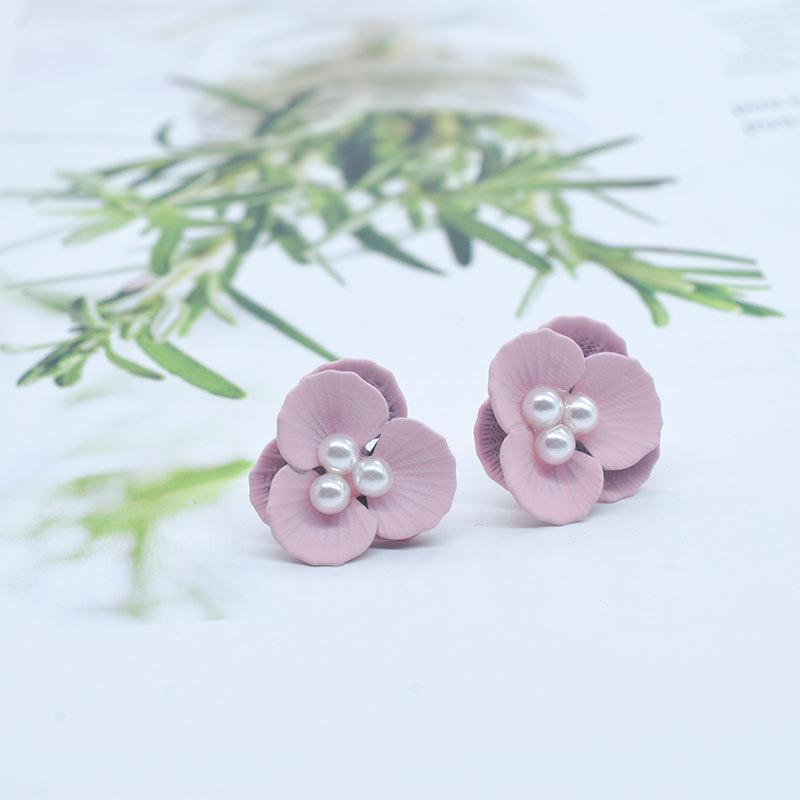 2020 fiori di rivestimento Orecchini in gomma 2 strati orecchini per i monili delle donne orecchini di perle ragazza regalo di vendita calda nuova moda