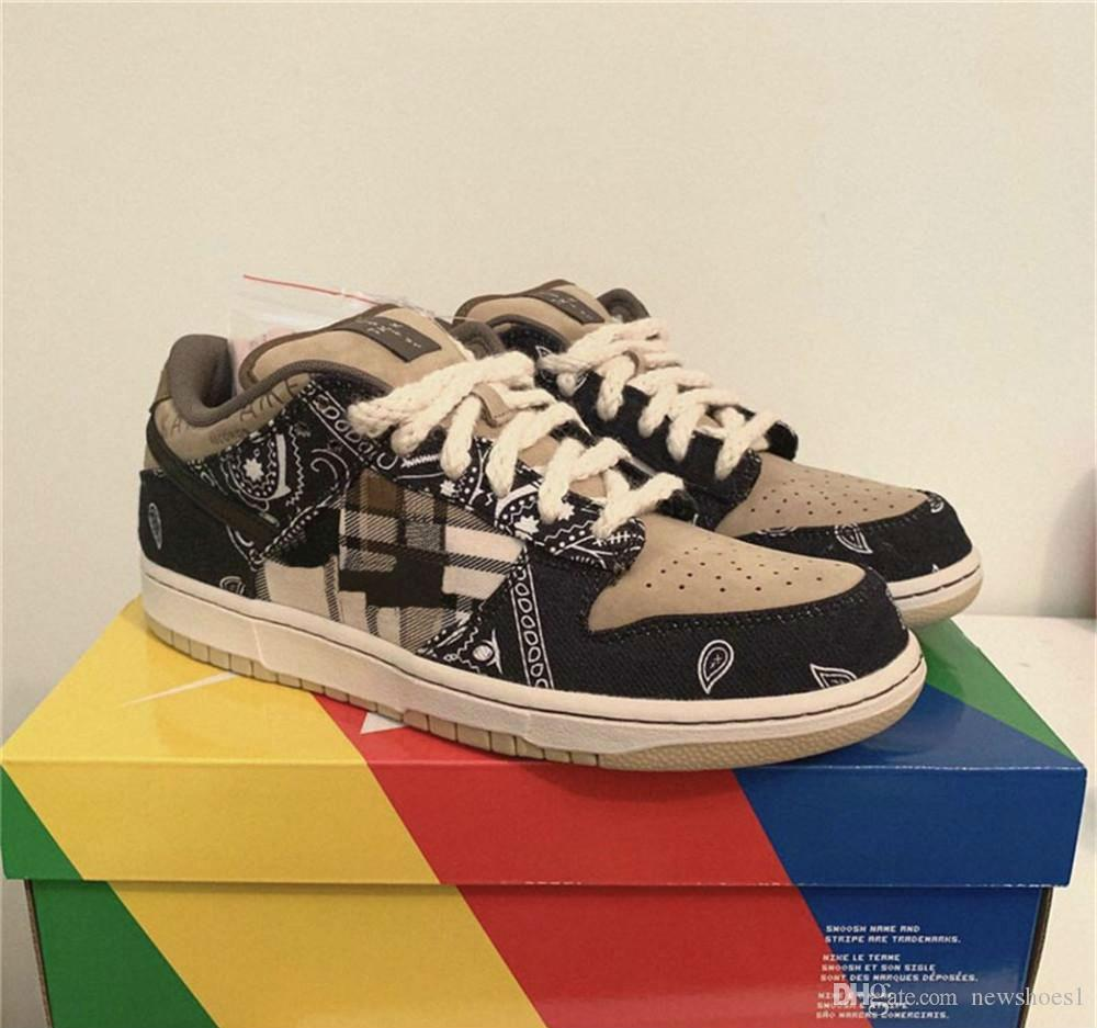 Travis Scott x plus récent SB Dunk Low Designer Sport Skateboard Chaussures pour hommes Baskets femme des Chaussures Chaussures Chaussures Sneakers