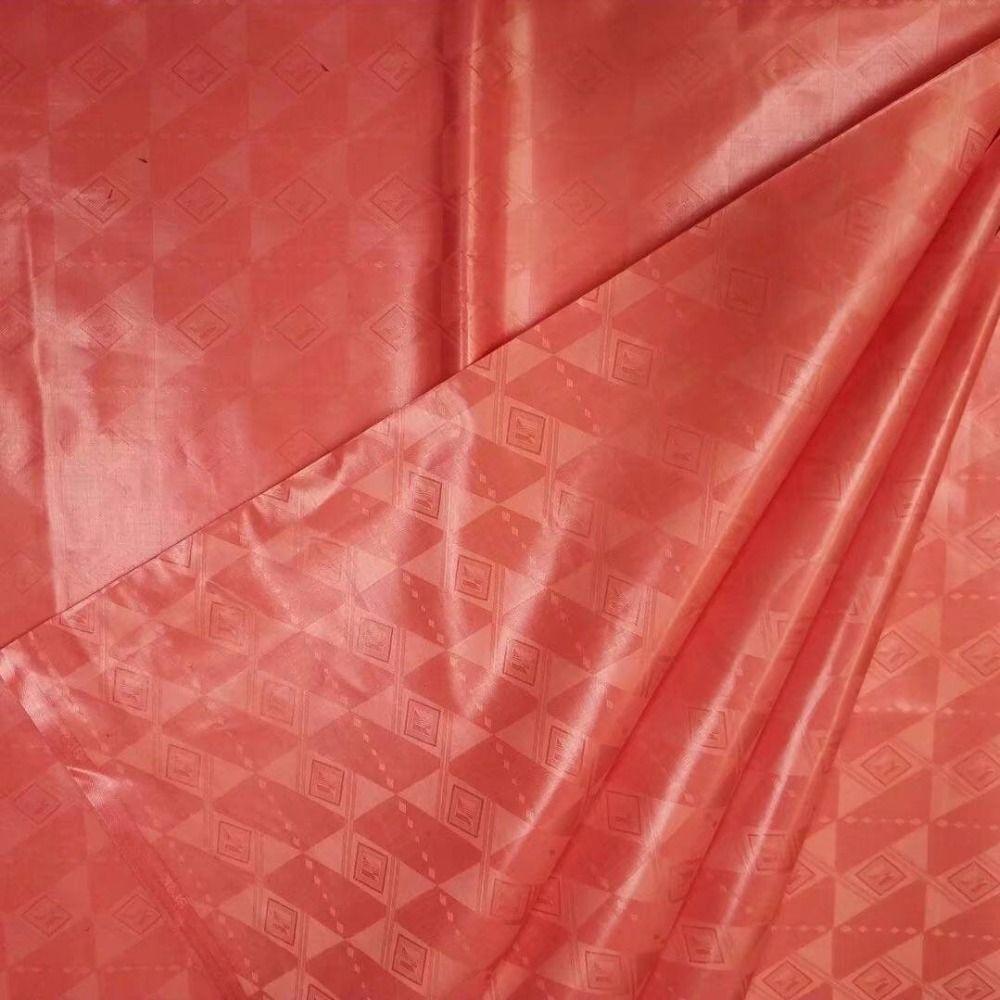Şeftali Brocade Fabric Yüksek Kalite Bazin Riche 5yards bazin Afrikalı erkekler bez / pc Brocade Dantel Riche