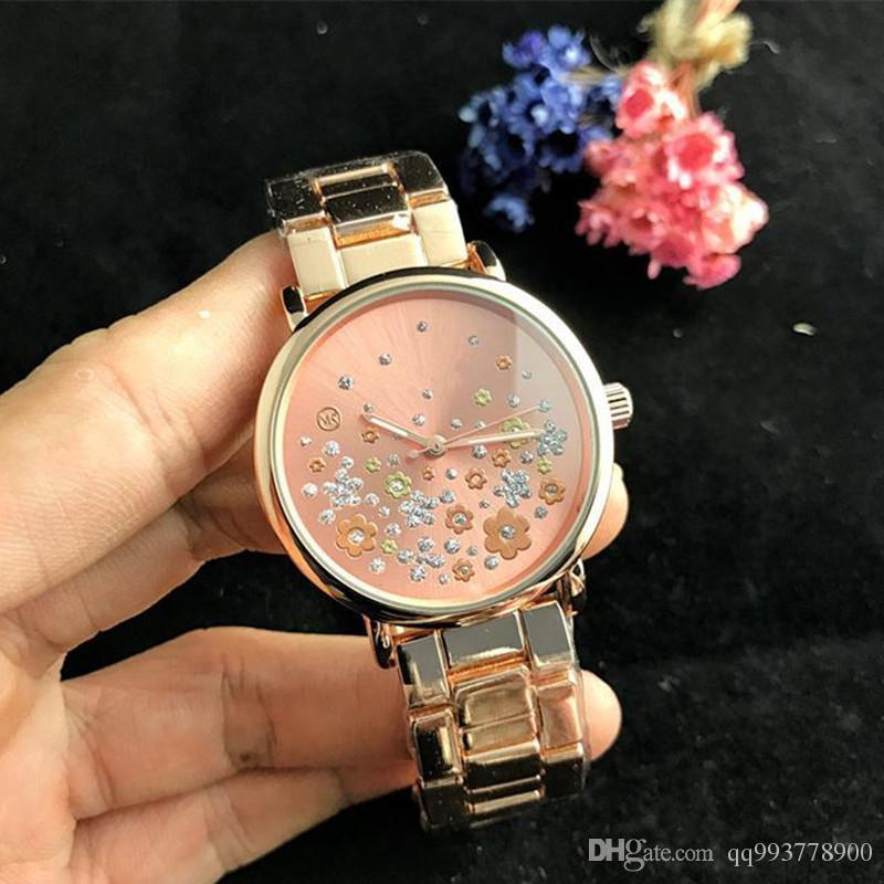 Relógio reloj senhoras de luxo top marca de moda vestido elegante designer de mulheres relógios de diamante pulseira de ouro rosa cristal data dia relógio de quartzo