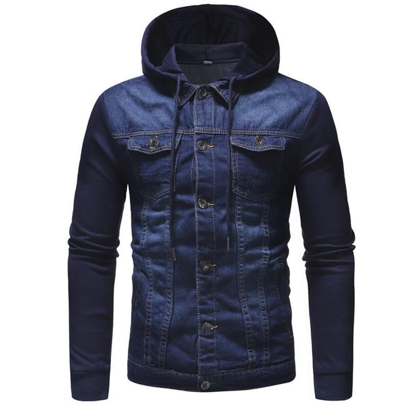Nova 2018 casaco para masculino clássico Sólidos Clothes M-3XL Homens Jeans Casacos homens encapuzados Outono Inverno