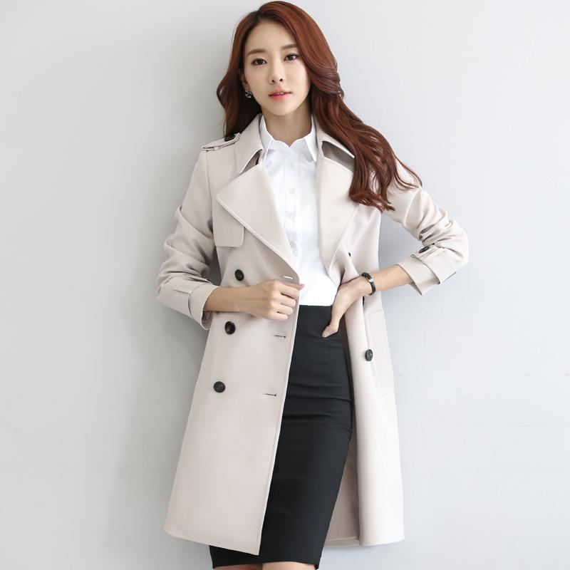Kadın Hendek Kadın Coat WINDBREAKER Uzun Koreli İlkbahar Sonbahar Şık Bayan Giyim Coats Abrigo Mujer KJ427