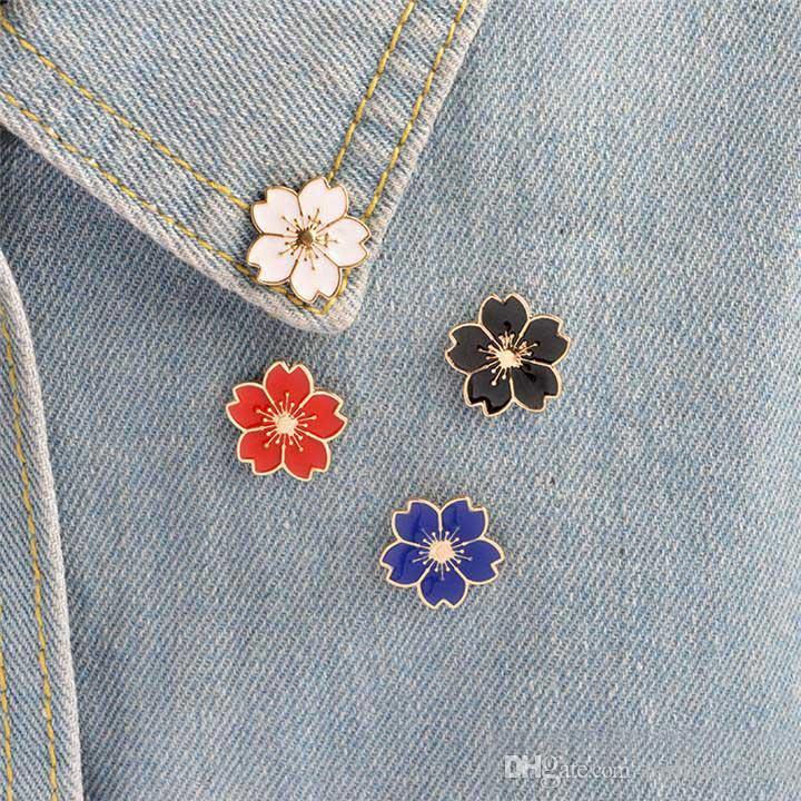 Kirsche Blume Gold Farbe Brosche Buttons Pins Abzeichen Für Taschen Japanischen Stil Schmuck Geschenk Für Mädchen Brosche