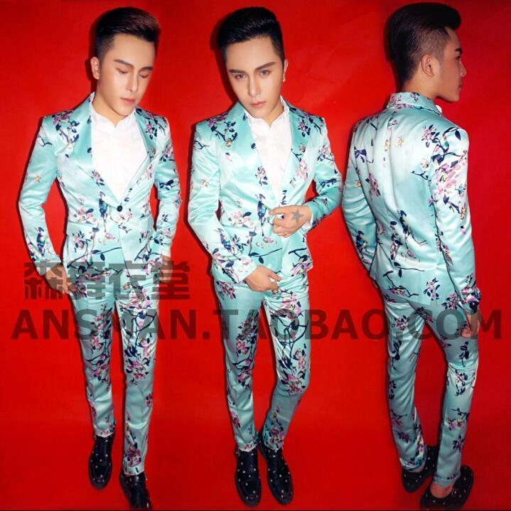 Masculino cantor masculino DJ boate Moda terno novo terno de leite azul flor pássaro