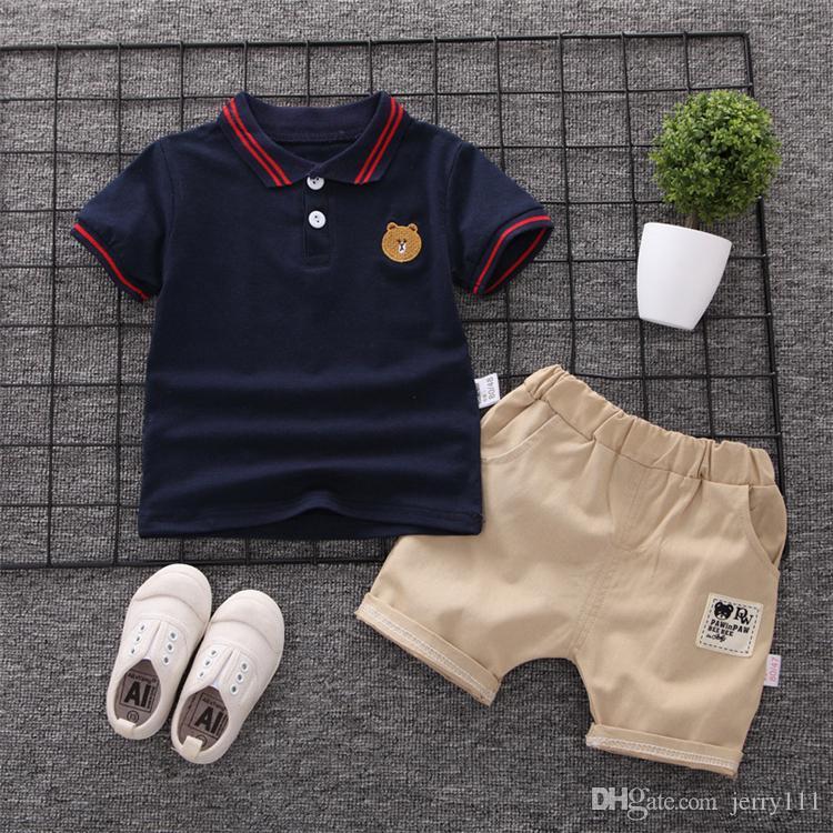 3 colors kids clothes Outfits Boy Polo shirt suit tide short-sleeved T-shirt Tops+Shorts Pants 2pcs set kids designer clothes boys DHL JY388