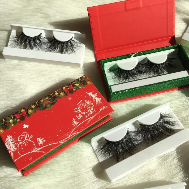 Navidad regalos de las pestañas de embalaje 27mm 5D Mink Pestañas 100% hecho a mano de la pestaña del ODM del OEM acepta FDshine