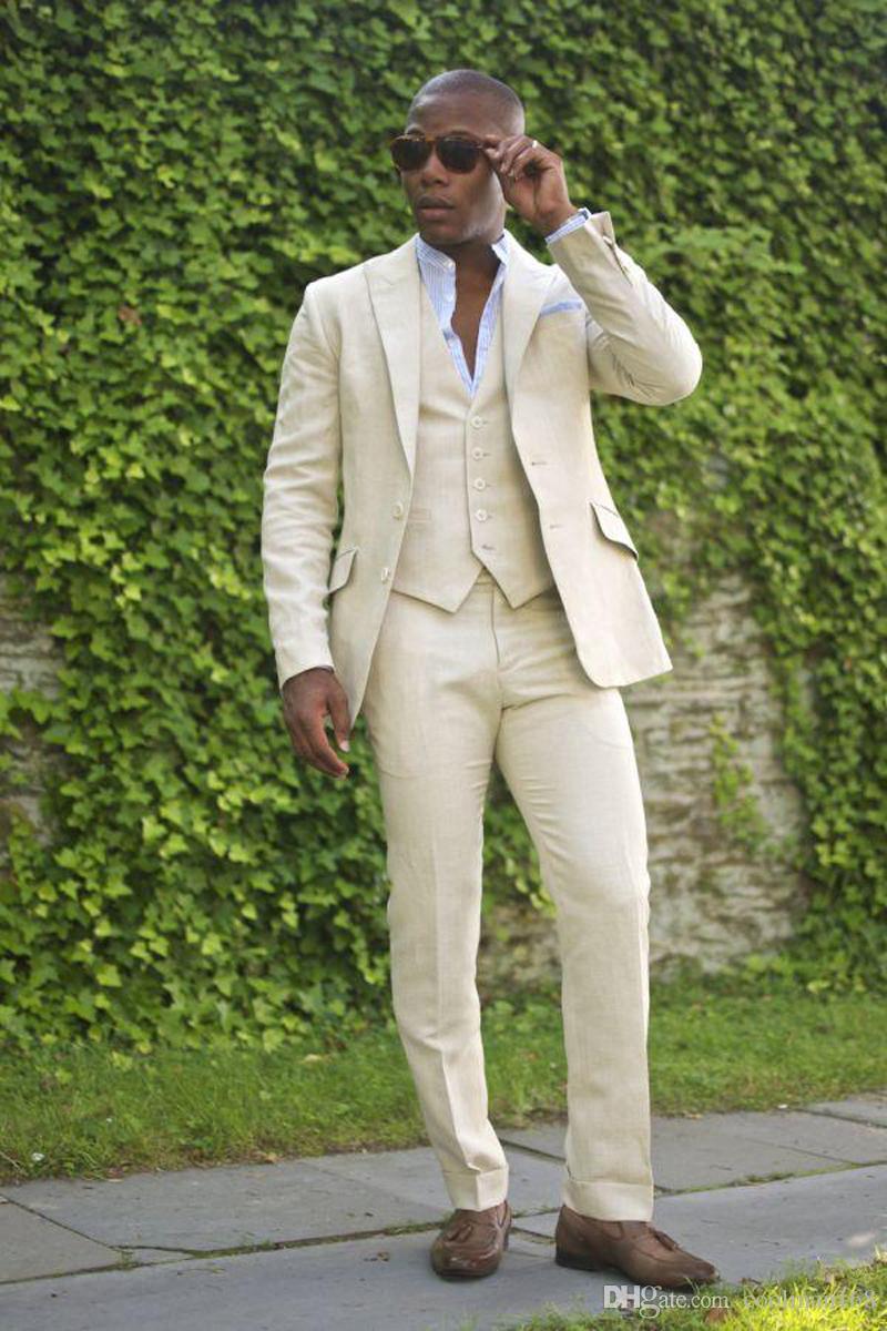 Brand New Groom Tuxedos Beige Groomsmen Wedding Dress Peak Lapel Man Jacket Blazer Dinner 3 Piece Suit(Jacket+Pants+Vest+Tie) 89