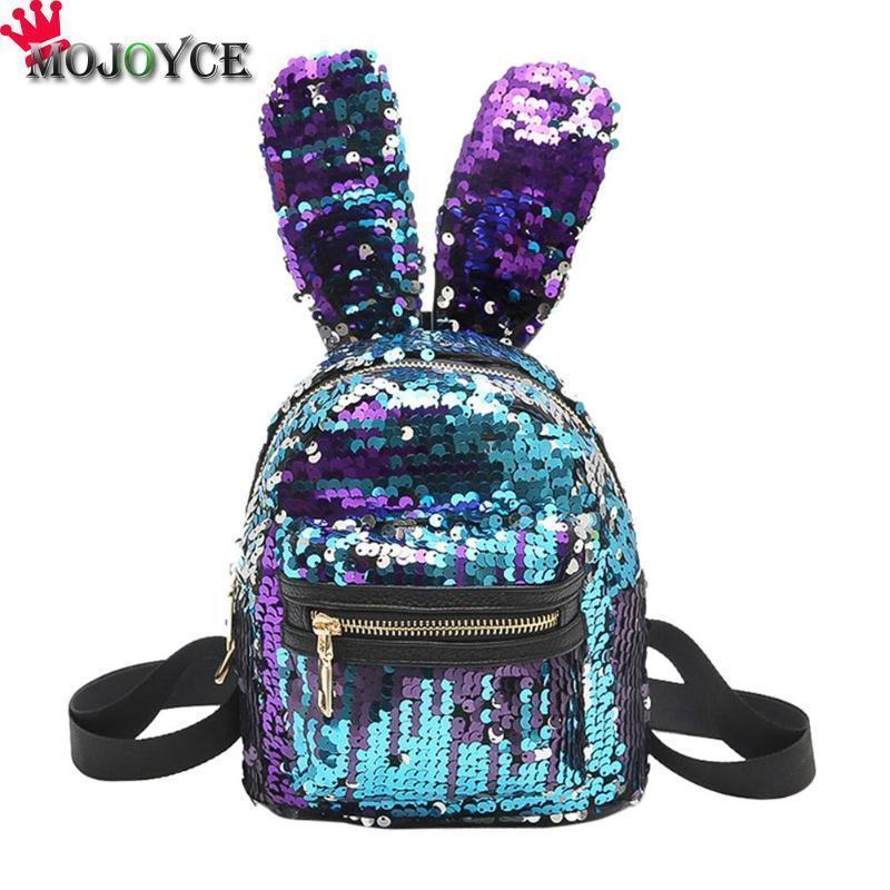 MOJOYCE Mini Shining Sequins Backpack Cute Rabbit Ears Shoulder Bags for Baby Children Girls Lovely Bling Sequins Small Bag Y18110107