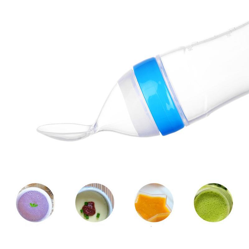 طفل عصر تغذية زجاجة سيليكون الطفل زجاجة ملعقة الملحق غذاء الرضع تغذية التدريب رايس ملعقة الآمن الضغط الطاعم