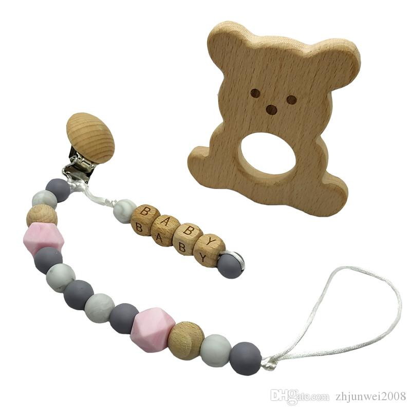 Silicone Beads Teething Bracelet  Baby Wooden Chewable Pacifier Teether Holder