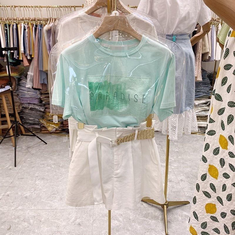 Blanca de manga corta complementos femeninos de moda floja delgada calzoncillos y medio de manga camiseta calzoncillos camiseta de 2020 mujeres