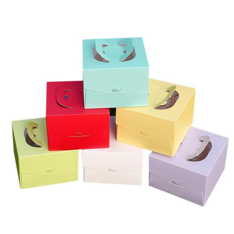 Freies Verschiffen 25Pcs / Set 4INCH 16 * 16 * 11,5 cm Dicke Kraftpapier Kuchen box Stopfbuchse Tragbarer Mousse Gebäck mit Fenster