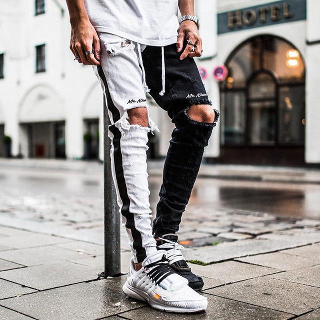 Мужчины Узкие джинсы Эластичный Slim Fit Mid талии Проблемные Ripped Байкер Мотоцикл Denim для мужчин хип-хоп мужские джинсы K-102
