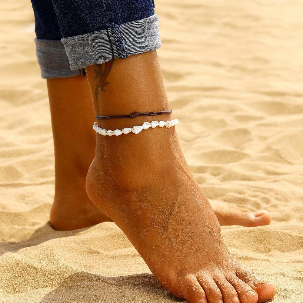 2 Pcs / Set Tornozeleiras para as Mulheres Shell Pé Jóias Summer Beach Barefoot tornozeleira na perna de couro Feminino Tornozeleira Boho Cadeia