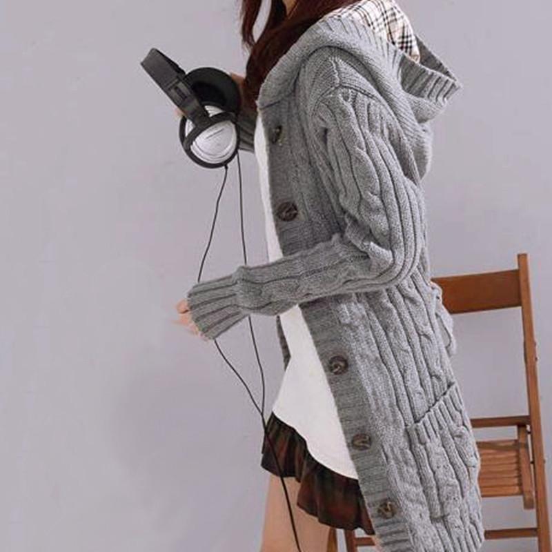 2016 mujeres de la moda de manga larga otoño invierno cálido suéteres de punto Cardigan suéter flojo femenino Outwear SW537