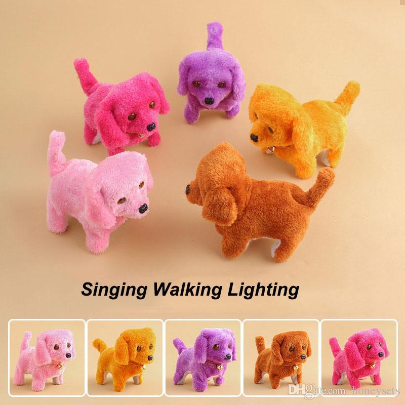 Children Electronic Plush Dog Toys Fashion Walking Barking Music Toy Funny Educational Electric Power Short Floss Dog Stuffed Animals Toys