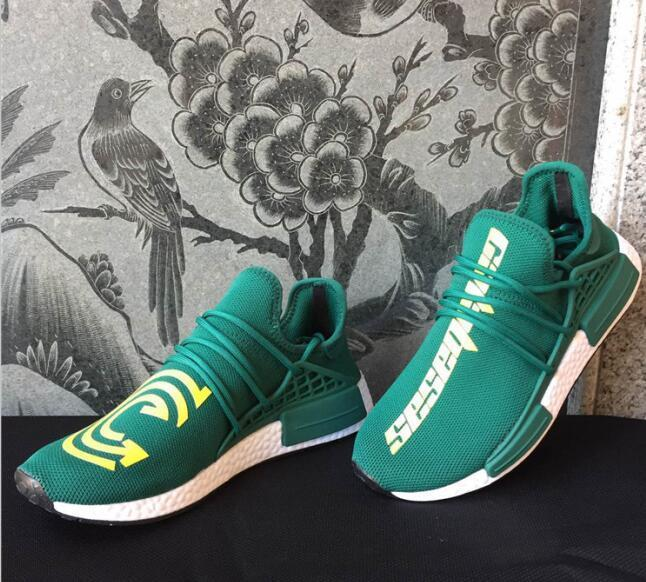 Human Race Running Shoes Pharrell Williams Hu Trail Holi Exclusive EQUALITY HAPPY PASSION Mens Women trainers Hiking Sport designer Sneakers