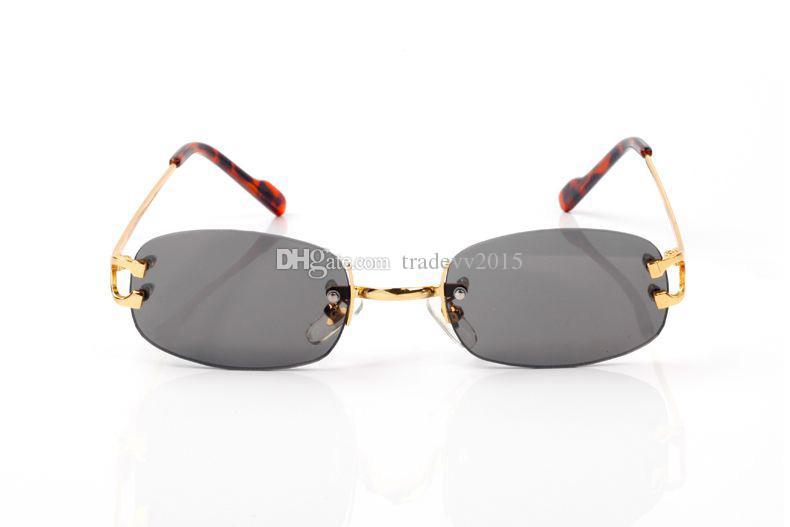 moda Rimless Occhiali da sole in metallo uomini Natura corno di bufalo Mens guida Ombra Eyewear occhiali da sole di vetro