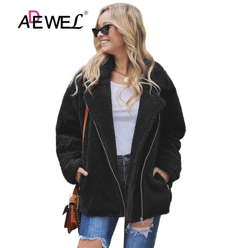 ADEWEL Woman Black Breaker Pocketed Sherpa Statement Jaqueta Bomber Plush Coat Plus Size Zipper Polyester Okrycia Wierzchnie XXL