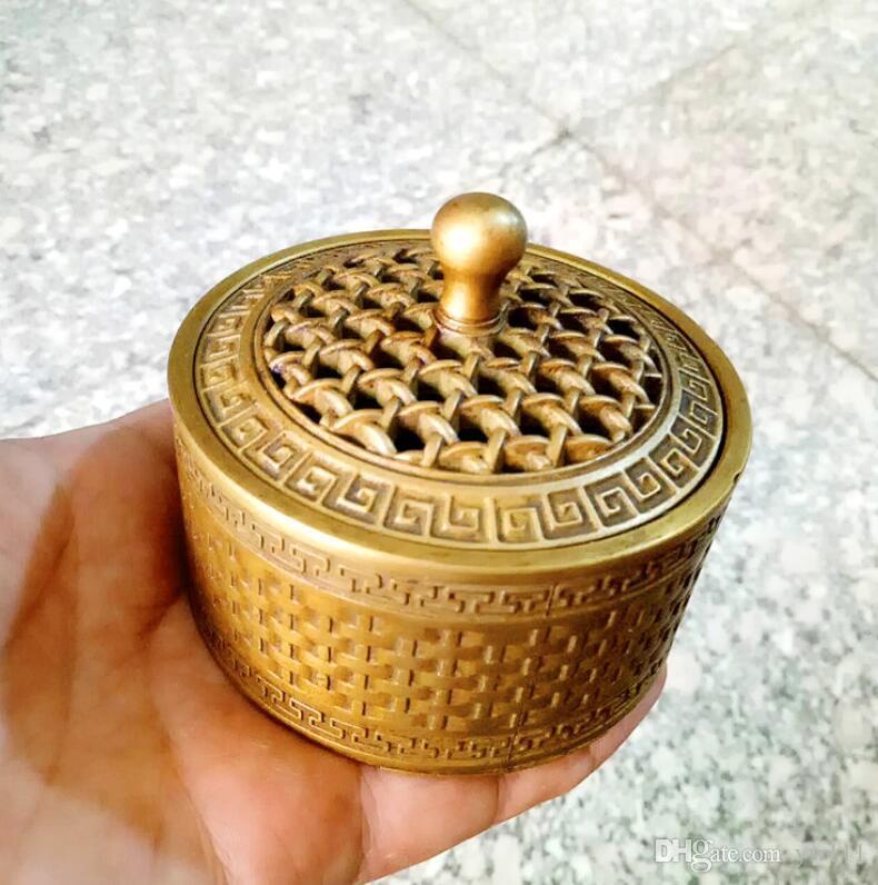 Özel Bronz Aromaterapi Fırını Antik Bakır Mini Aromaterapi Fırını Hollow Geri Desen Pirinç Aromaterapi Fırını