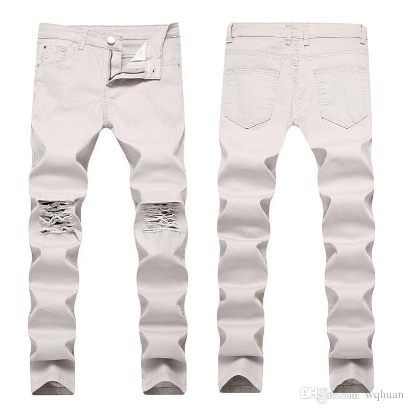 New Pants Casual Jeans Knee Denim Fashional Pants Free Mens Hiphop Holes High Quality Washed Shipping Mvvlx