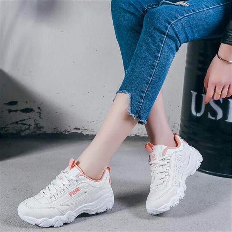 Printemps et automne nouvelle ins marée ulzzang super feu chaussures blanches épaisses femmes loisir mouvement étudiant Harajuku Sneakers chaussures