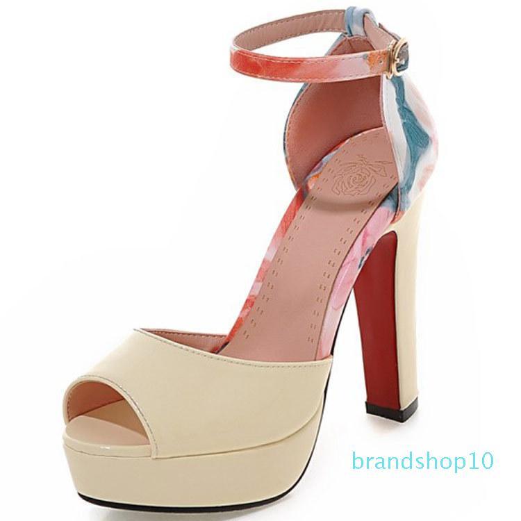 Fairy2019 femme Sandales L'impression femmes Chaussures de 40-43 super haute avec HASP plate-forme étanche Peep-toe 18-2