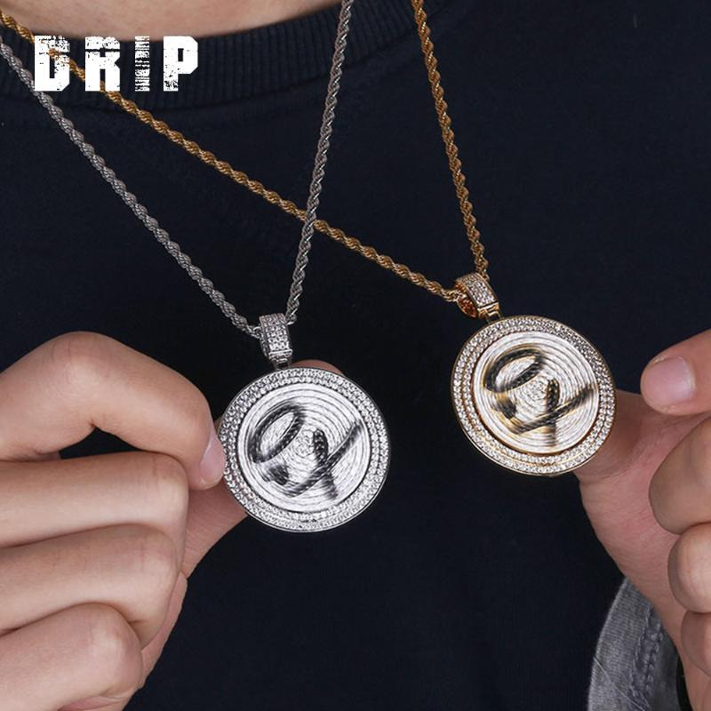 DRIP Rotierenden Runde Form XO Brief design gold siver Farbe kühle Mode Zirkon hip hop iced out Anhänger freies Kette rap Schmuck