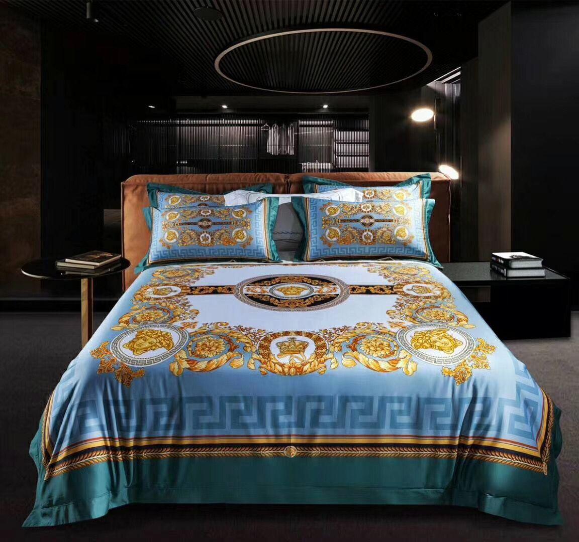 Melhor Quailty Luxo design de impressão azul Marca king size rainha Quilts Blue Gold Marca cama conjuntos de casamento Para Casa Hotel